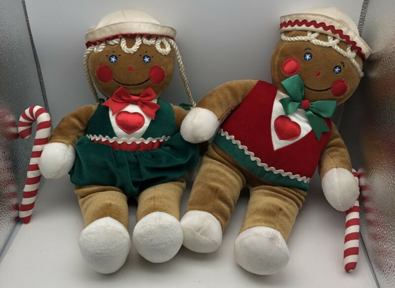 "Vintage Set Of Two  12"" Christmas Gingerbread Man And Women Plush Dolls -Stains"