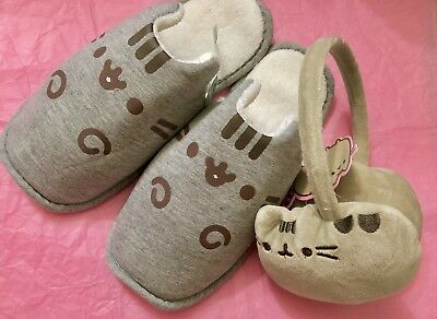 BEST DEAL♡ Pusheen Cat Plush Earmuffs and Cozy Slippers 2018 Subscription (Best Cat Subscription Box)