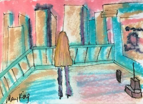 Watercolor ACEO Original Painting by Mary King -  Woman on Rooftop in City