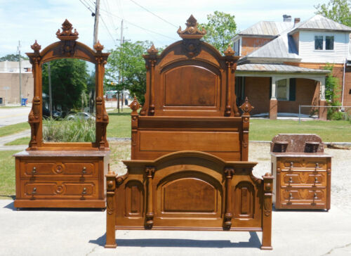 Walnut Victorian Bedroom Set~Queen Bed~~Dresser ~~Washstand