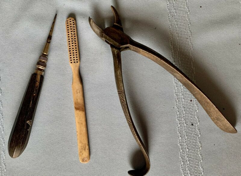 Antique Civil War Era Dental Tools - Tooth Lifter, Toothbrush, Tooth Extractor