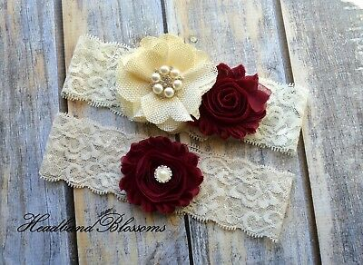 Maroon Ivory Lace Bridal Garter Set - Burlap Wedding Garter - Burgundy Garder