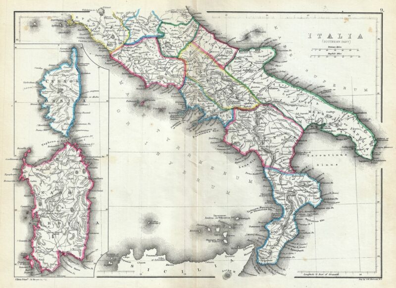 1867 Hughes Map of Southern Italy in Antiquity