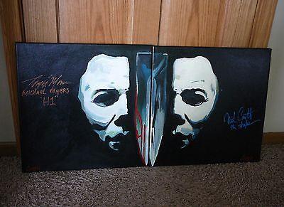 "Halloween 18""x18"" Cargill Painting LOT Signed Tony Moran Nick Castle Myers Mask"