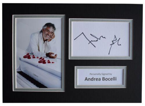 Andrea Bocelli Signed Autograph A4 photo display Classical Music AFTAL COA