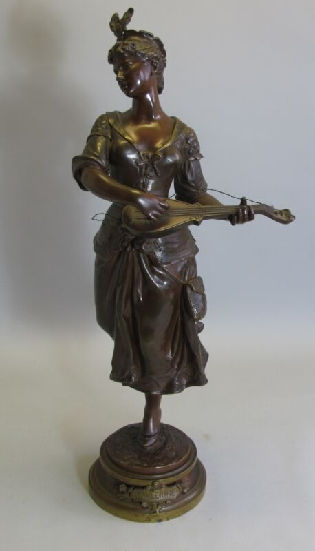 "Antique 27"" French Art Nouveau Bronze Sculpture of Ballerina  MARCEL DEBUT"