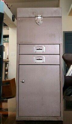 Vintage Antique Industrial 1960s Office Metal File Cabinet Card Filing Organizer