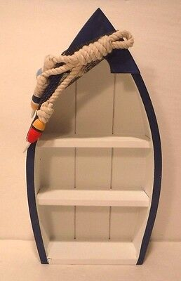 Standing Blue & White Shelf Boat Nautical Decor Fishing Cabin Ocean Lake Cottage