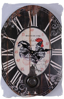 PENDULUM COUNTRY HOUSE STYLE WALL CLOCK BISTRO DU COQ PROVENCE CLOCK