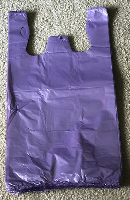 100 Purple Plastic T-shirt Retail Shopping Grocery Bags Handles Small 6x3x13