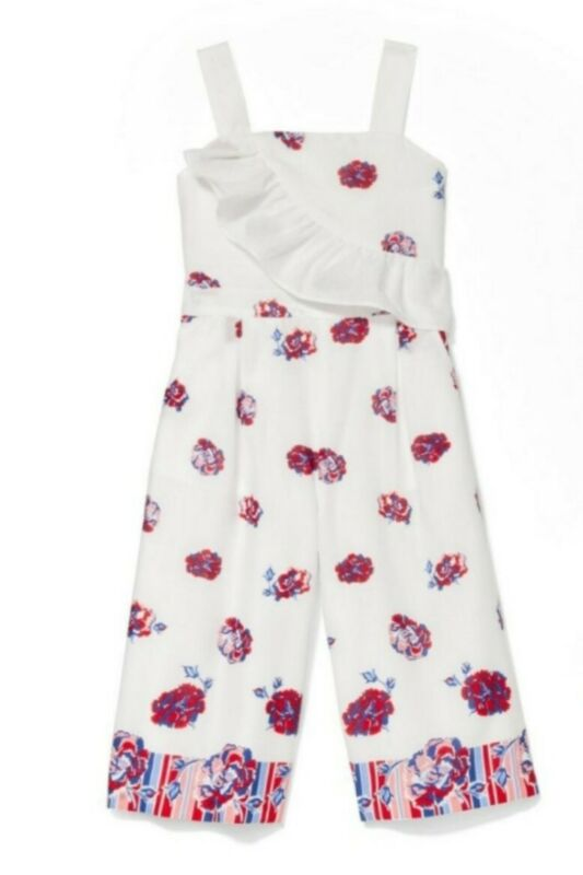 Janie & Jack Girls White Floral Romper Side pockets (One-Piece) - Sz10