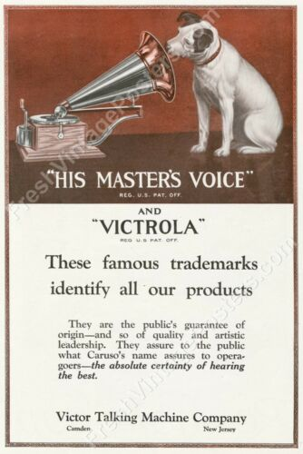 1920 dog looking into phonograph Nipper Victor Victrola ad new poster 16x24