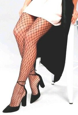 PLUS SIZE Fishnet RHINESTONE Pantyhose #275 BLACK Large Net Tall Sexy LINGERIE