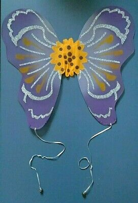 Child Butterfly Costume Wings Fairy Bells Purple & Yellow with Silver Glitter!  - Yellow Butterfly Wings Costume