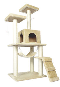 New-Beige-57-Cat-Tree-Condo-Furniture-Scratch-Post-Pet-House-5777