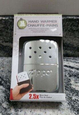New Zippo High Polish Chrome 12 hour hand warmer model 40323 BEST PRICE ANYWHERE