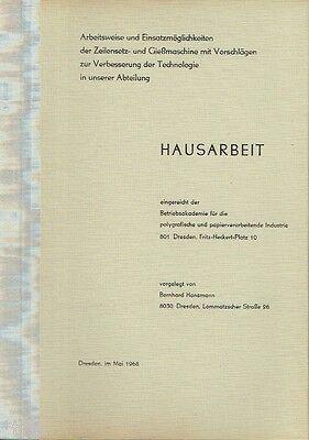 Hansmann Arbeitsweise der Zeilensetz Gießmaschine Setzmaschine Druckerei 1968