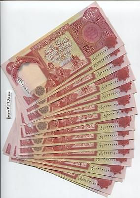 100,000 NEW CRISP IRAQI DINAR UNCIRCULATED SERIAL NUMBERED  4 x 25,000 25000 IQD