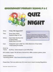 Greenmount Primary School P&C Quiz Night Middle Swan Swan Area Preview