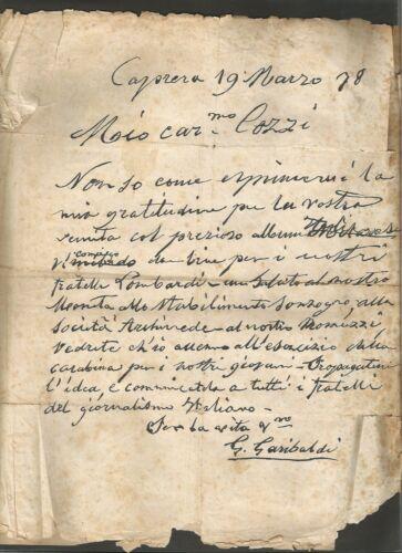 Giuseppe Garibaldi Italian Politician Manuscript Letter Original Signed 1878