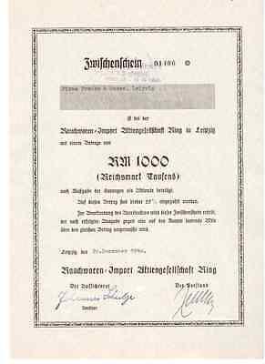 Rauchwaren-Import AG Riag  1940  Leipzig