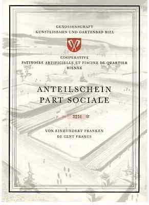 Genossenschaft Kunsteinsbahn und Gartenbad Biel  Schweiz  1959