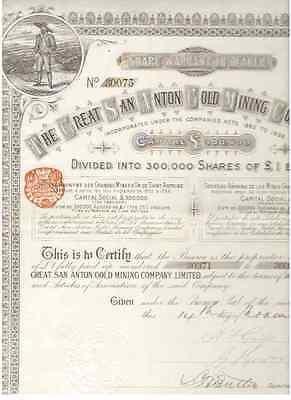 Great San Anton Gold Mining Company  1890