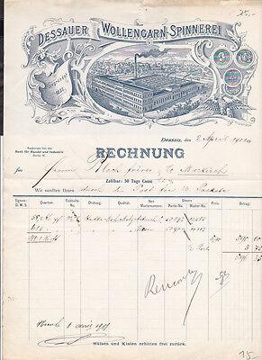 G44 /  Rechnung Briefkopf / Spinnerei Dessau