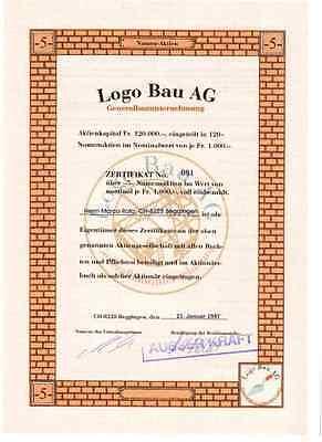 Schweiz: Logo Bau AG  5er  1997 Beggingen