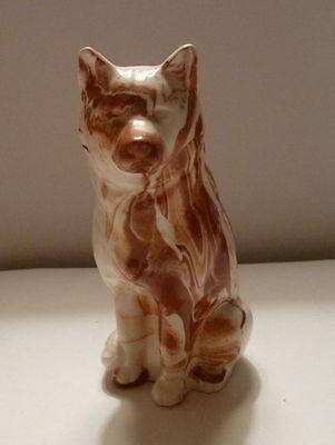 Ceramic Dog Figurine Mottled Brown German Shepherd 1981 Signed On Base