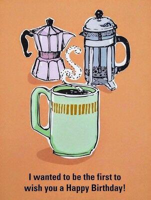 Birthday Coffee Greeting Card - BIRTHDAY Greeting Card COFFEE Cup Mug French Press Seltzer 4.5