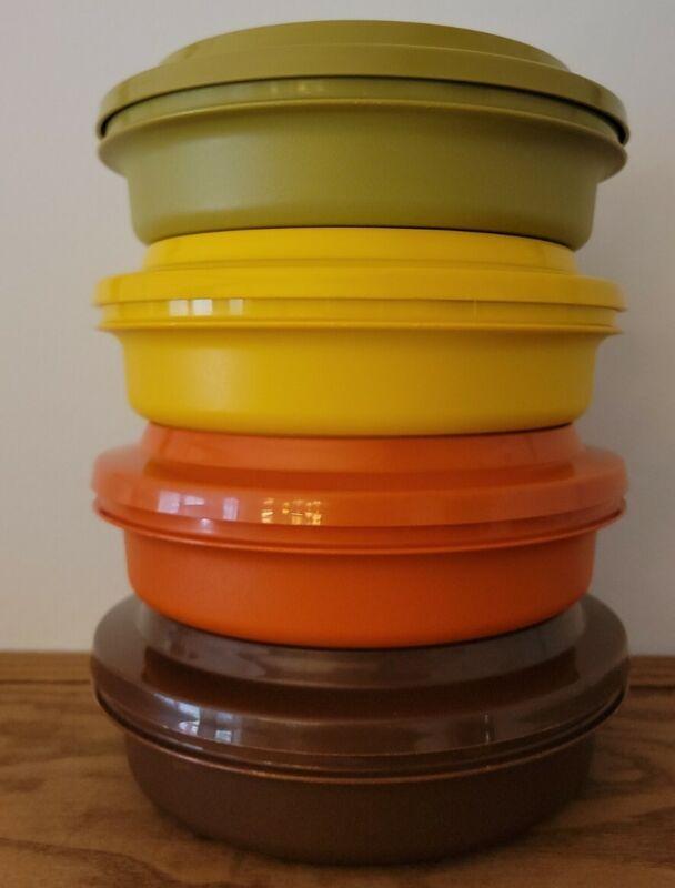 Set of 4 Tupperware Vintage Retro Seal & Serve Bowls Lids Harvest Set #1207 1206