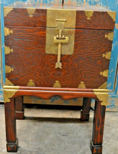 Vintage Chinese Wood Chest/Box & Stand/Pedestal Brass Closure & Decoration