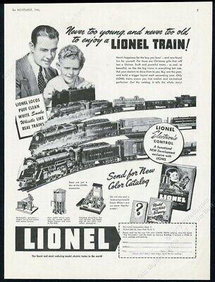 1946 Lionel electric train set photo father son Xmas vintage print ad