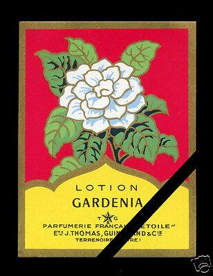 Gardenia-lotion (Vintage French Art Deco Perfume Label: Gardenia Lotion -  Etoile Paris France )