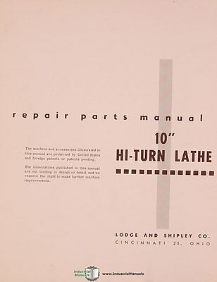 Lodge Shipley 10 Hi-turn Lathe Parts Manual