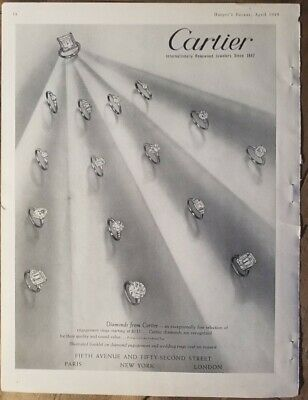 1949 Cartier diamond solitaire rings vintage jewelry original ad