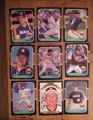 1987 Donruss Houston Astros 9 Card Lot Mike Scott Bill Doran