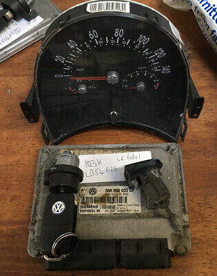 VW BEETLE 1.6 06A 906 033 DP ECU WITH DASH, LOCK, KEY AND IGNITION