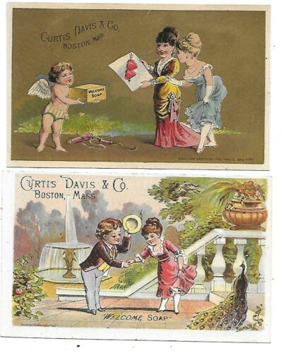 2 CURTIS DAVIS & CO. WELCOME SOAP VICTORIAN TRADE CARDS -CUPID & PEACOCK