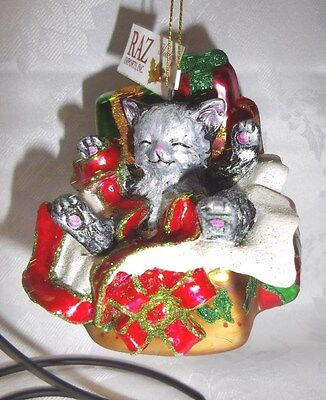 "RAZ Imports 4"" Cat In Presents Hand Decorated Blown Glass Christmas Ornament"