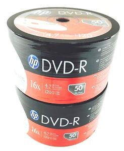 HP DVD-R 16X 4.7GB 120MIn Branded LOGO 100pcs 2x50 pack Plastic Wrap