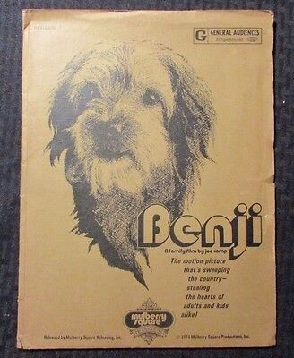 1974 Benji Press Kit in Folder Revision 3 FN+/VG Peter Breck, Deborah Walley