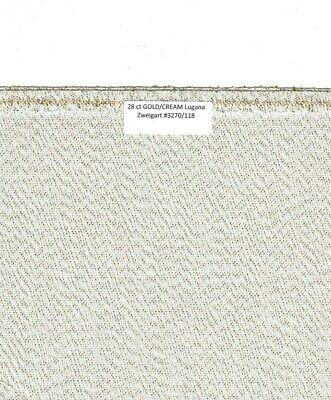 "28 Ct GOLD/CREAM Metallic Lugana Zweigart #3270/118 15"" x 18"" continuous HOLIDAY"