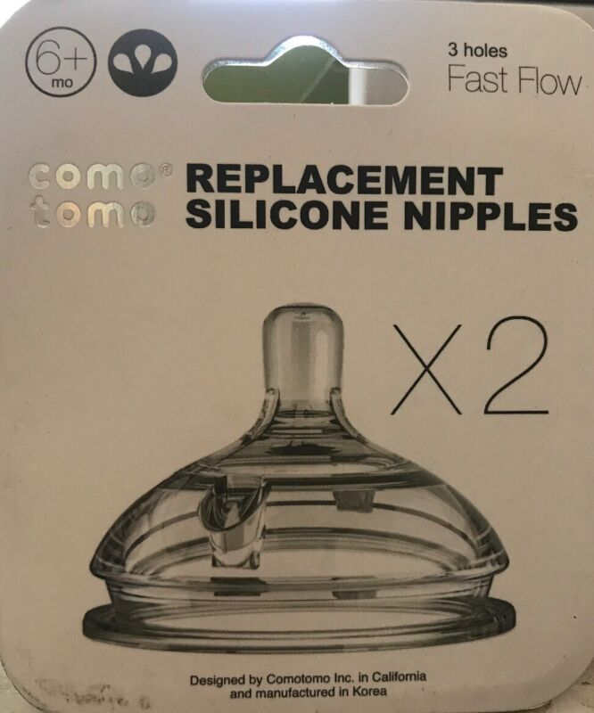Comotomo Replacement Silicone Fast Bottles Nipple 6 Month Baby- New