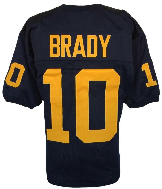 Tom Brady Custom Blue College Football Jersey Size XL