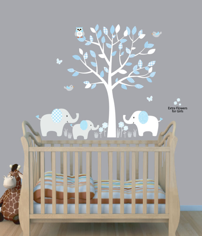 Elephant Tree Nursery Sticker Decal, Boys Room Wall Decor, Elephant Wall Art