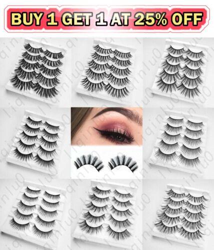 5 Pairs 100% Real 3D Mink Makeup Cross False Eyelashes Eye L