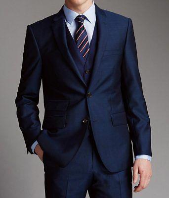 Hombre Azul Trajes Boda Informal Elegante Con Chaleco