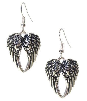 "- Embossed Antiqued Silver-Tone Heart Angel Wing Dangle Earrings 1 3/4"" Long"